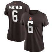 Wholesale Cheap Cleveland Browns #6 Baker Mayfield Nike Women's Team Player Name & Number T-Shirt Brown
