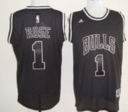 Wholesale Cheap Chicago Bulls #1 Derrick Rose All Black With White Swingman Jersey