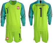 Wholesale Cheap Poland #1 Szczesny Shiny Green Goalkeeper Long Sleeves Soccer Country Jersey