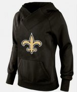 Wholesale Cheap Women's New Orleans Saints Logo Pullover Hoodie Black-1