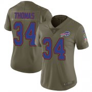 Wholesale Cheap Nike Bills #34 Thurman Thomas Olive Women's Stitched NFL Limited 2017 Salute to Service Jersey
