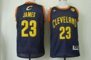 Wholesale Cheap Men's Cleveland Cavaliers #23 LeBron James 2015 The Finals Navy Blue With Gold Swingman Jersey