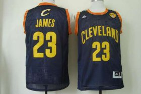 Wholesale Cheap Men\'s Cleveland Cavaliers #23 LeBron James 2015 The Finals Navy Blue With Gold Swingman Jersey