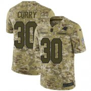 Wholesale Cheap Nike Panthers #30 Stephen Curry Camo Youth Stitched NFL Limited 2018 Salute to Service Jersey