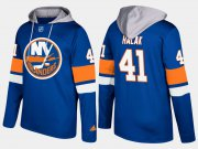 Wholesale Cheap Islanders #41 Jaroslav Halak Blue Name And Number Hoodie