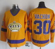 Wholesale Cheap Kings #30 Rogie Vachon Yellow/Purple CCM Throwback Stitched NHL Jersey