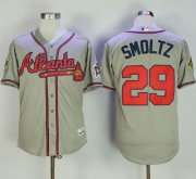 Wholesale Cheap Mitchell And Ness 1995 Braves #29 John Smoltz Grey Throwback Stitched MLB Jersey