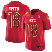 Wholesale Cheap Nike Bengals #18 A.J. Green Red Youth Stitched NFL Limited AFC 2017 Pro Bowl Jersey
