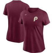 Wholesale Cheap Philadelphia Phillies Nike Women's Cooperstown Collection Wordmark T-Shirt Burgundy