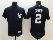 Wholesale Cheap Yankees #2 Derek Jeter Navy Blue Flexbase Authentic Collection Stitched MLB Jersey