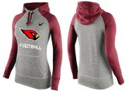 Wholesale Cheap Women's Nike Arizona Cardinals Performance Hoodie Grey & Red_1
