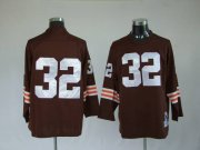 Wholesale Cheap Mitchell & Ness Browns #32 Jim Brown Brown Stitched Throwback NFL Jersey