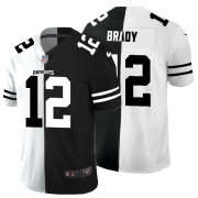Cheap New England Patriots #12 Tom Brady Men's Black V White Peace Split Nike Vapor Untouchable Limited NFL Jersey