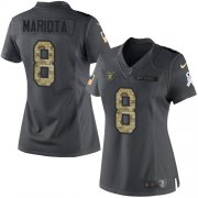 Wholesale Cheap Nike Raiders #8 Marcus Mariota Black Women's Stitched NFL Limited 2016 Salute to Service Jersey