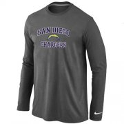 Wholesale Cheap Nike Los Angeles Chargers Heart & Soul Long Sleeve T-Shirt Dark Grey