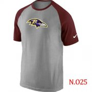 Wholesale Cheap Nike Baltimore Ravens Ash Tri Big Play Raglan NFL T-Shirt Grey/Red