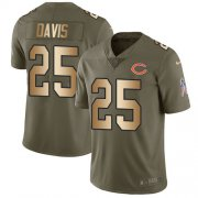 Wholesale Cheap Nike Bears #25 Mike Davis Olive/Gold Men's Stitched NFL Limited 2017 Salute To Service Jersey