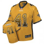 Wholesale Cheap Nike Saints #41 Alvin Kamara Gold Men's Stitched NFL Elite Drift Fashion Jersey