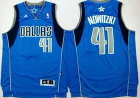 Wholesale Cheap Dallas Mavericks #41 Dirk Nowitzki Revolution 30 Swingman Light Blue Jersey