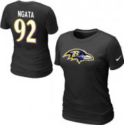 Wholesale Cheap Women's Nike Baltimore Ravens #92 Haloti Ngata Name & Number T-Shirt Black