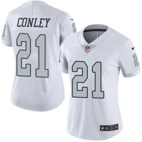 Wholesale Cheap Nike Raiders #21 Gareon Conley White Women\'s Stitched NFL Limited Rush Jersey