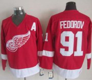 Wholesale Cheap Red Wings #91 Sergei Fedorov Red CCM Throwback Stitched NHL Jersey