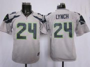 Wholesale Cheap Nike Seahawks #24 Marshawn Lynch Grey Alternate Youth Stitched NFL Elite Jersey