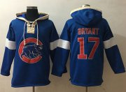 Wholesale Cheap Cubs #17 Kris Bryant Blue Pullover MLB Hoodie