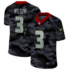Cheap Seattle Seahawks #3 Russell Wilson Men\'s Nike 2020 Black CAMO Vapor Untouchable Limited Stitched NFL Jersey