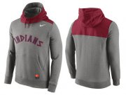 Wholesale Cheap Men's Cleveland Indians Nike Gray Cooperstown Collection Hybrid Pullover Hoodie