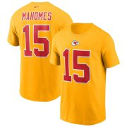Wholesale Cheap Kansas City Chiefs #15 Patrick Mahomes Nike Team Player Name & Number T-Shirt Yellow