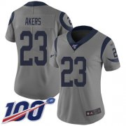Wholesale Cheap Nike Rams #23 Cam Akers Gray Women's Stitched NFL Limited Inverted Legend 100th Season Jersey