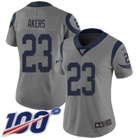 Wholesale Cheap Nike Rams #23 Cam Akers Gray Women\'s Stitched NFL Limited Inverted Legend 100th Season Jersey