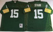 Wholesale Cheap Mitchell And Ness 1969 Packers #15 Bart Starr Green Throwback Stitched NFL Jersey