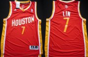 Wholesale Cheap Houston Rockets #7 Jeremy Lin Revolution 30 Swingman Red With Gold Jersey