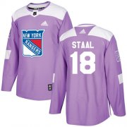 Wholesale Cheap Adidas Rangers #18 Marc Staal Purple Authentic Fights Cancer Stitched Youth NHL Jersey
