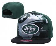 Wholesale Cheap Jets Team Logo Green Black Adjustable Leather Hat TX