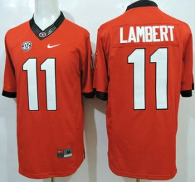 Wholesale Cheap Georgia Bulldogs #11 Greyson Lambert Red 2015 College Football Nike Limited Jersey