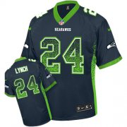 Wholesale Cheap Nike Seahawks #24 Marshawn Lynch Steel Blue Team Color Youth Stitched NFL Elite Drift Fashion Jersey