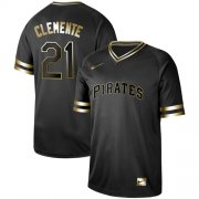 Wholesale Cheap Nike Pirates #21 Roberto Clemente Black Gold Authentic Stitched MLB Jersey