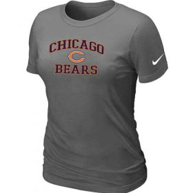 Wholesale Cheap Women\'s Nike Chicago Bears Heart & Soul NFL T-Shirt Dark Grey