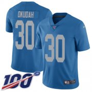 Wholesale Cheap Nike Lions #30 Jeff Okudah Blue Throwback Youth Stitched NFL 100th Season Vapor Untouchable Limited Jersey