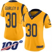 Wholesale Cheap Nike Rams #30 Todd Gurley II Gold Women's Stitched NFL Limited Rush 100th Season Jersey