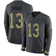 Wholesale Cheap Nike Saints #13 Michael Thomas Anthracite Salute to Service Men's Stitched NFL Limited Therma Long Sleeve Jersey