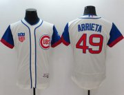 Wholesale Cubs #49 Jake Arrieta Cream/Blue Flexbase Authentic Collection 1942 Turn Back The Clock Stitched Baseball Jersey