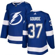 Wholesale Cheap Adidas Lightning #37 Yanni Gourde Blue Home Authentic Stitched NHL Jersey
