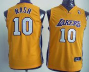 Cheap Los Angeles Lakers #10 Steve Nash Yellow Kids Jersey