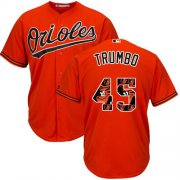 Wholesale Cheap Orioles #45 Mark Trumbo Orange Team Logo Fashion Stitched MLB Jersey