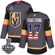 Wholesale Cheap Adidas Golden Knights #17 Vegas Strong Grey Home Authentic USA Flag 2018 Stanley Cup Final Stitched NHL Jersey