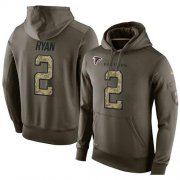 Wholesale Cheap NFL Men's Nike Atlanta Falcons #2 Matt Ryan Stitched Green Olive Salute To Service KO Performance Hoodie